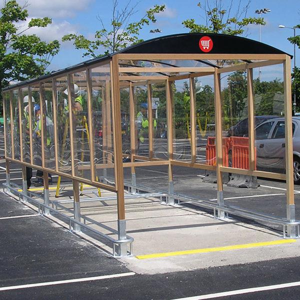 hardwood trolley shelter supermarket