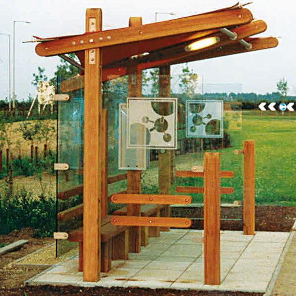 hardwood bus shelter with signage