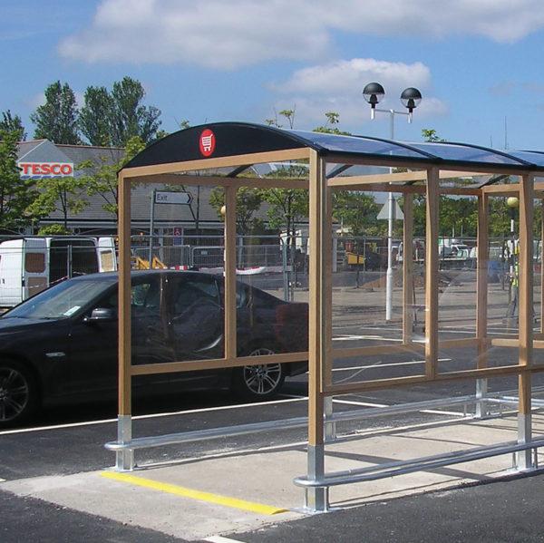tesco trolley park shelter hardwood